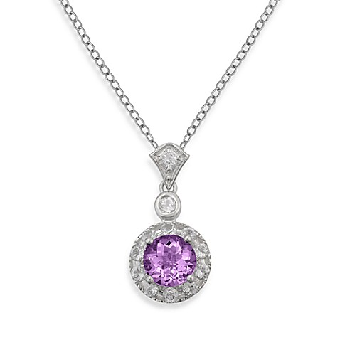Badgley Mischka® Sterling Silver Necklace with Amethyst and White Topaz Pendant