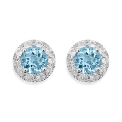 Badgley Mischka® Sterling Silver Earrings with Blue and White Topaz Studs