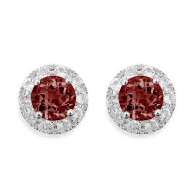 Badgley Mischka® Sterling Silver Earrings with Garnet and White Topaz Studs