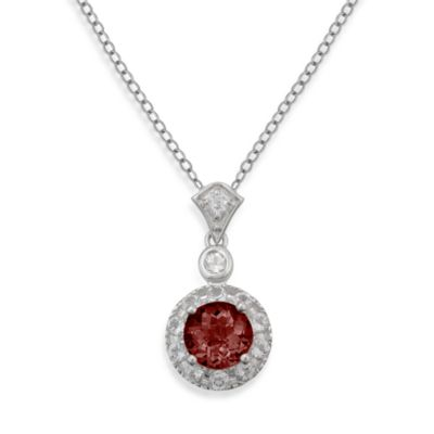 Badgley Mischka® Sterling Silver Necklace with Garnet and White Topaz Pendant