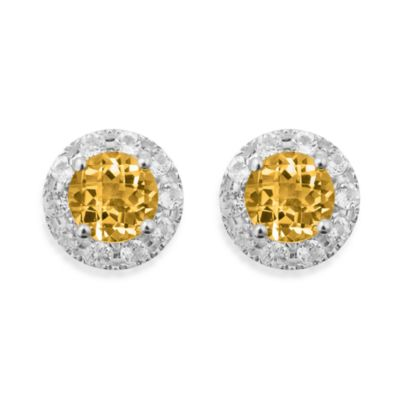 Badgley Mischka® Sterling Silver Earrings with Citrine and White Topaz Studs