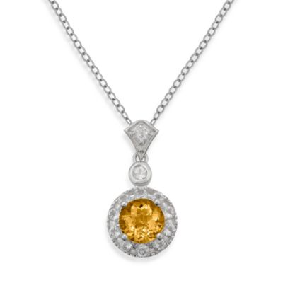 Badgley Mischka® Sterling Silver Necklace with Citrine and White Topaz Pendant