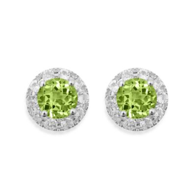 Badgley Mischka® Sterling Silver Earrings with Peridot and White Topaz Studs