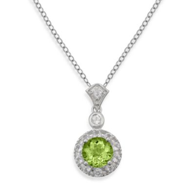Badgley Mischka® Sterling Silver Necklace with Peridot and White Topaz Pendant