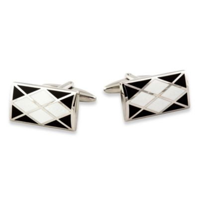 Argyle Cufflinks in Black/White