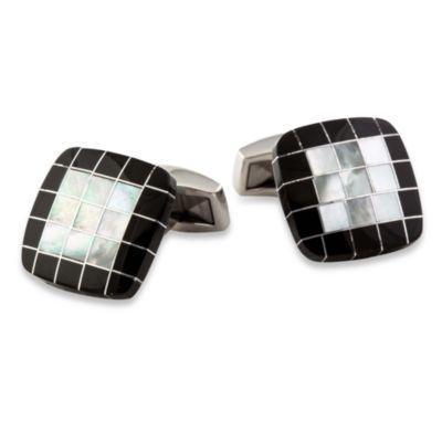 Black and White Precious Grid Cufflinks