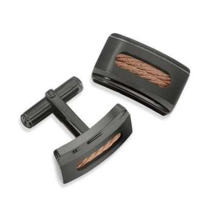 STEL™ Black IP Stainless Steel Cufflinks w/Rose Steel Cable Inlay