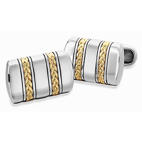 J. Goodman™ Sterling Silver and 18K Gold Cufflinks w/Oxidized Braid
