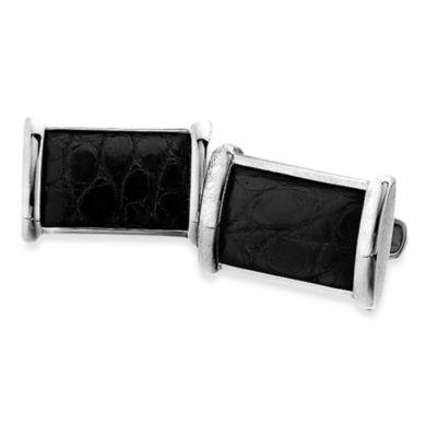 J. Goodman™ Sterling Silver Black Alligator Cufflinks w/Swivel Backs