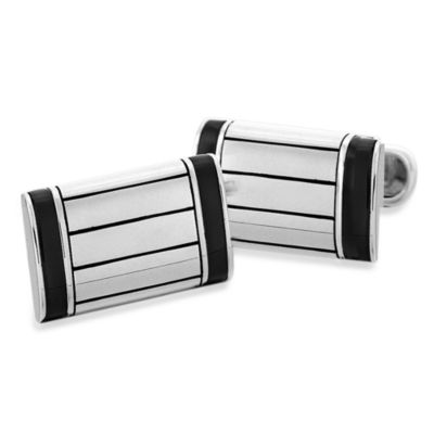 J. Goodman™ Sterling Silver Black Onyx Cufflinks w/Swivel Backs