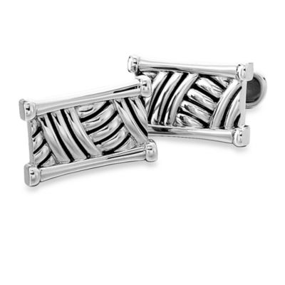 J. Goodman™ Sterling Silver Cufflinks w/Oxidized Thatch Design