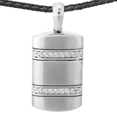 J. Goodman™ Sterling Silver Dog Tag Pendant w/Leather Necklace
