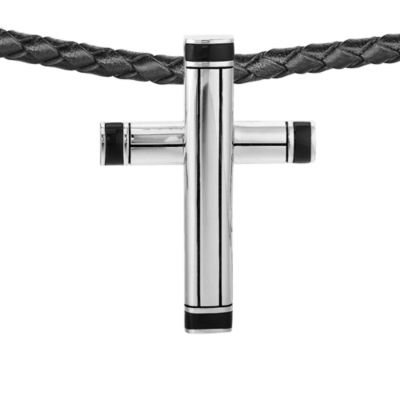 J. Goodman™ Sterling Silver/Onyx Cross Pendant w/Black Braided Leather Cord