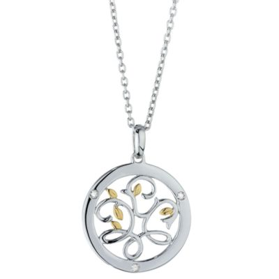 "Ze™ Sterling Silver/18K Yellow Gold .06 cttw Diamond ""Tree of Life"""