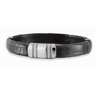 J. Goodman™ Sterling Silver Bracelet w/Black Alligator Cuff
