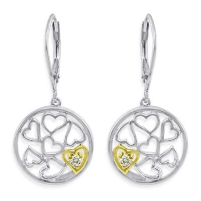 Ze™ Sterling Silver/18K Gold .09 cttw Diamond Heart Dangle Earrings