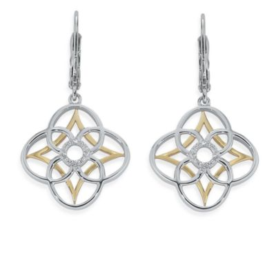 Ze™ Sterling Silver/18K Yellow Gold Diamond Dangle Earrings