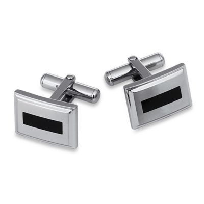 STEL™ Stainless Steel w/Black Enamel Inlay Cufflinks
