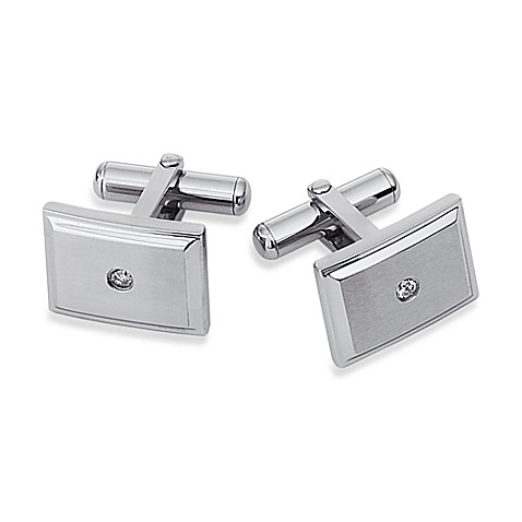 STEL™ Stainless Steel .06 cttw Diamond Cufflinks