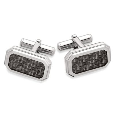 STEL™ Stainless Steel w/Carbon Fiber Inlay Cufflinks