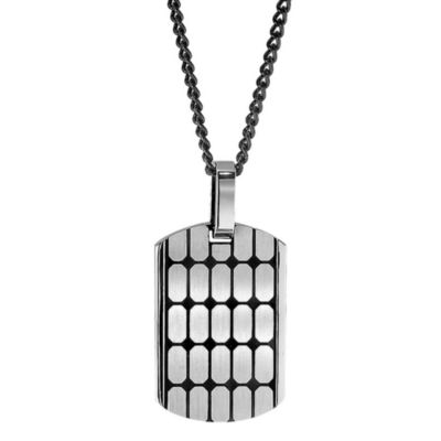 "STEL™ Stainless Steel/Black Enamel ""Cobblestone"" Dog Tag Pendant w/Leather Necklace"