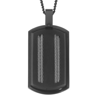 STEL™ Black IP Stainless Steel Dog Tag Pendant w/24-Inch Chain