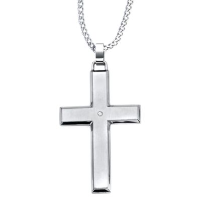STEL™ Stainless Steel .01 cttw Diamond Accent Cross Pendant w/Stripe