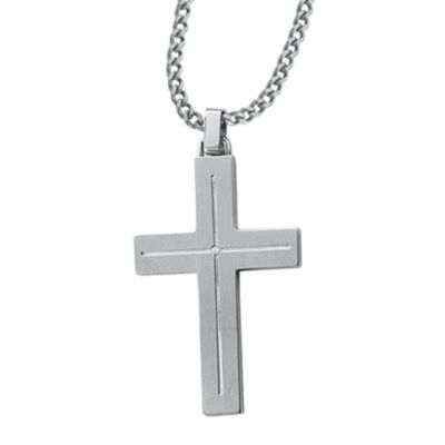 STEL™ Stainless Steel .01 cttw Diamond Accent Cross Pendant w/Chain