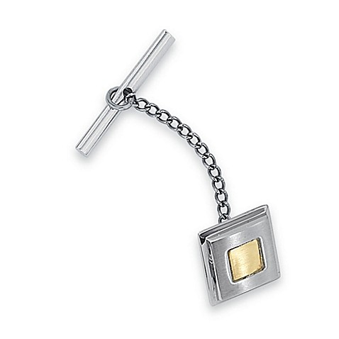 STEL™ Stainless Steel w/14K Yellow Gold Inlay Tie Tac