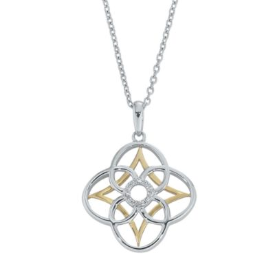 Ze™ Sterling Silver/18K Yellow Gold .05 cttw Diamond Pendant w/Chain