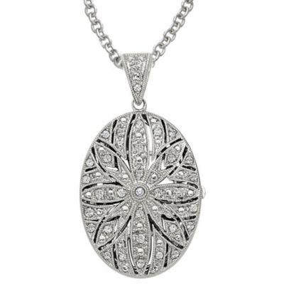 Sterling Silver 1/5 cttw Diamond Oval Flower Locket