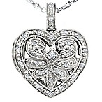 Sterling Silver 1/5 cttw Diamond Open Heart Locket