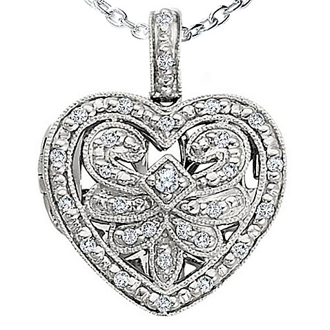 Ze Sterling Silver 1/5 cttw Diamond Open Heart Locket