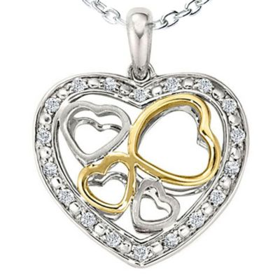 Ze Sterling Silver 1/5 cttw Diamond Heart Locket