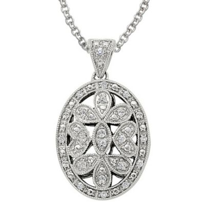 Ze Sterling Silver 1/5 cttw Diamond Open Oval Locket