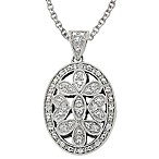 Sterling Silver 1/5 cttw Diamond Open Oval Locket