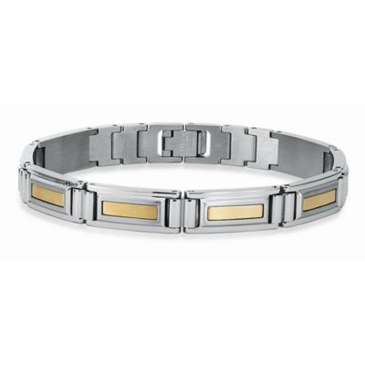 STEL™ Stainless Steel w/14K Yellow Gold Inlay 8.25-Inch Bracelet
