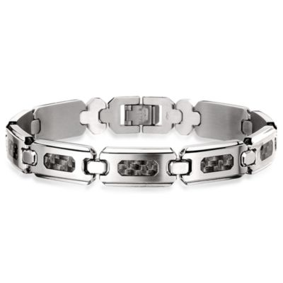 STEL™ Stainless Steel/Carbon Fiber Inlay 8.5-Inch Bracelet