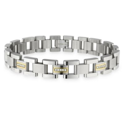 STEL™ 8.5-Inch Stainless Steel w/14K Gold Inlay/.15 cttw Diamond Bracelet