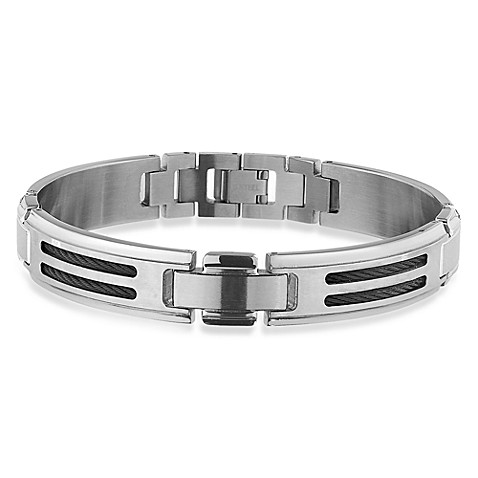 STEL™ 8.5-Inch Stainless Steel Bracelet w/Black Cable Inlay