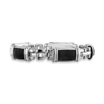 J. Goodman™ Sterling Silver Black Alligator Link Bracelet in 8 1/2-Inch