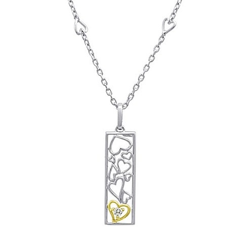Ze™ Sterling Silver/18K Yellow Gold .09 cttw Diamond Heart Pendant