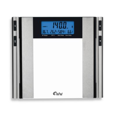 Weight Watchers® Glass & Satin Nickel Body Analysis Scale by Conair™ with Jumbo Blue Backlight Display