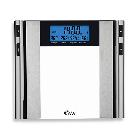 Weight watchersr by conairtm glass satin nickel body for Bathroom scales at bed bath and beyond