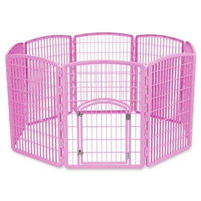 IRIS USA 8-Panel Indoor/Outdoor Plastic Pen in Pink