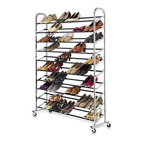 buy 60 pair rolling shoe rack in chrome from bed bath beyond