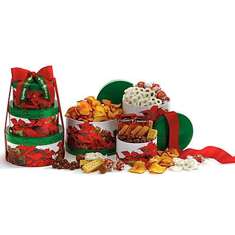 Poinsettia Gourmet Gift Tower