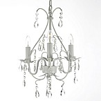 Wrought Iron & Crystal Chandelier in White