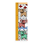 Green Leaf Art Dogs on White Growth Chart