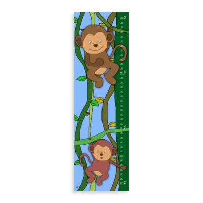 Green Leaf Art Jungle Monkeys Growth Chart